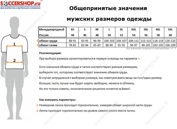 Таблица размеров мужской одежды.